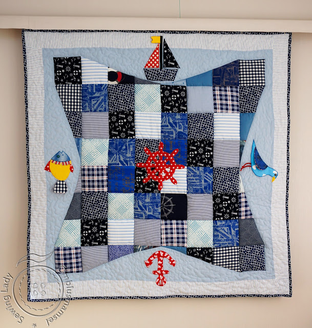 nautical quilt, floor quilt, baby play quilt