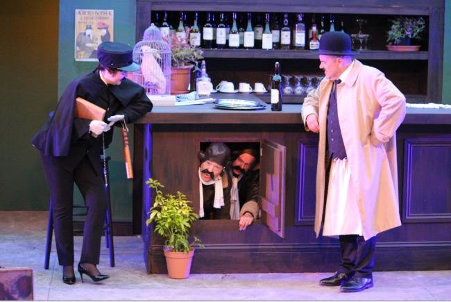 'Allo-'Allo-Cardiff-Open-Air-Theatre-Festival-Review--Rene-Michelle-and-English-pilots-hiding-in-the-bar