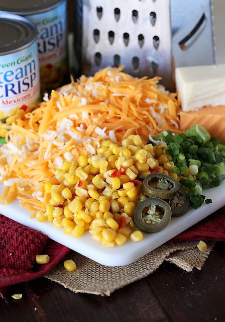 Cheesy Fiesta Corn Casserole Ingredients Image
