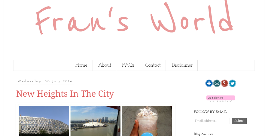 A screenshot of my new blog name, Fran's World