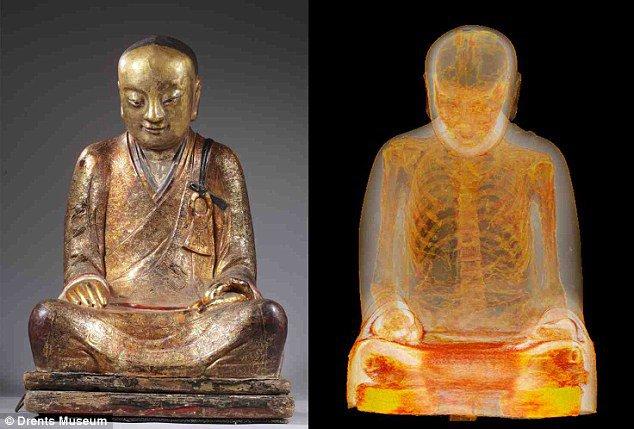 AMAZING! CT Scan reveals 1,000-year-old mummified monk hidden in statue!