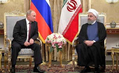 Vladimir Putin and Hassan Rouhani.
