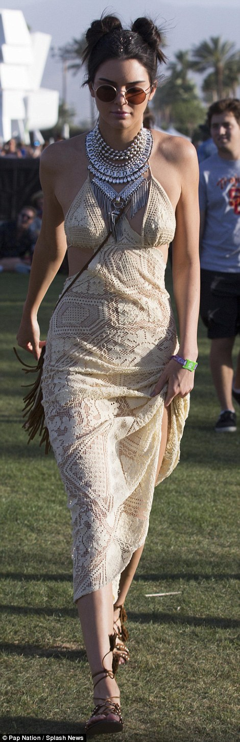 Kendall Jenner in a lacy maxi dress at the Coachella party