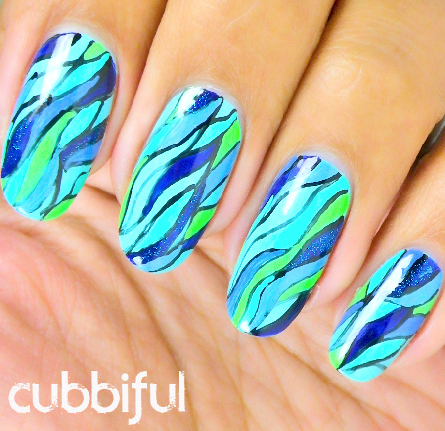 nautical nails of abstract blue seaweed