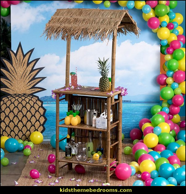 Tiki Bar tropical party props  Tropical party decorations - tropical party ideas - ALOHA Hawaii Luau Party Decorations - Luau Hawaiian Grass Table Skirt raffia Decorations - Hula Hibiscus Tropical Birthday Summer Pool Party Supplies - tiki party pineapple party decorations - beach party - Birthday party  photo backdrop - tropical themed cake decorations - beach tiki themed table decorations -  party props - summer party