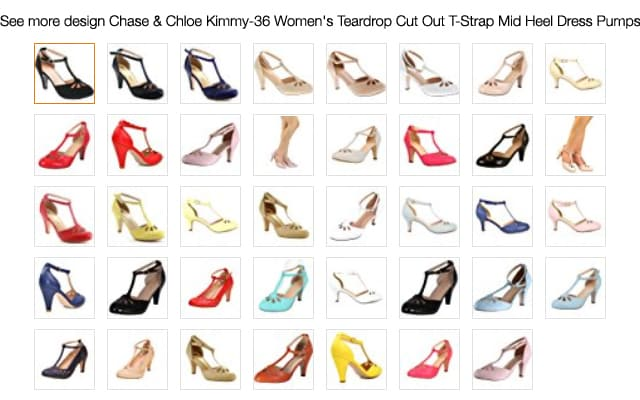 Chase & Chloe Kimmy-36 Women's Teardrop Cut Out T-Strap Mid Heel Dress Pumps