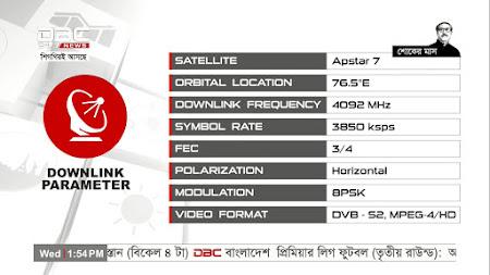 Frekuensi siaran DBC News TV di satelit Apstar 7 Terbaru