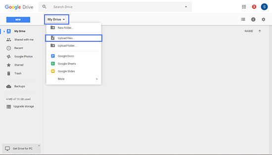 Upload File In Google Drive