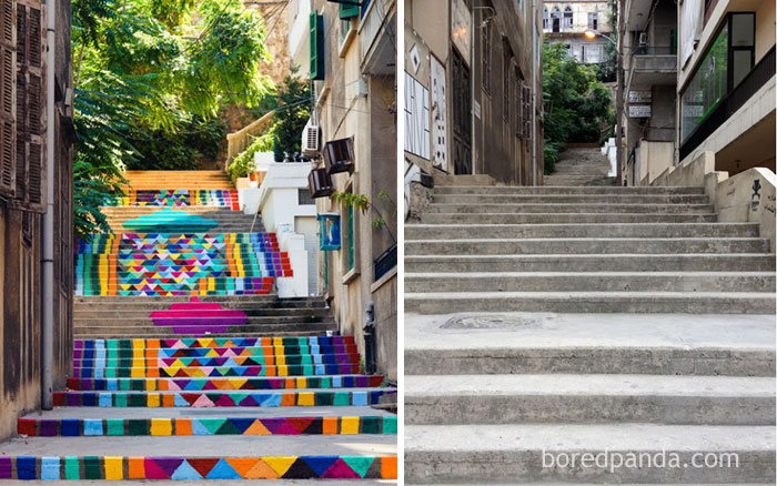 10+ Incredible Before & After Street Art Transformations That'll Make You Say Wow - Ornamental Stairs In Beirut, Lebanon