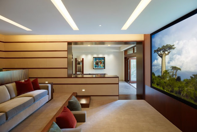 Home theater room in the Mandeville Canyon Residence