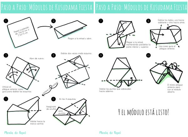 Instrucciones para armar los módulos del Kusudama Fiesta