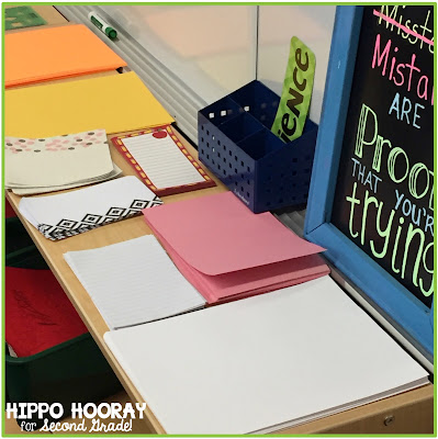 Poetry Writing Station: Give your students the option of using paper of many different shapes, sizes, and styles. It helps with the creative process!