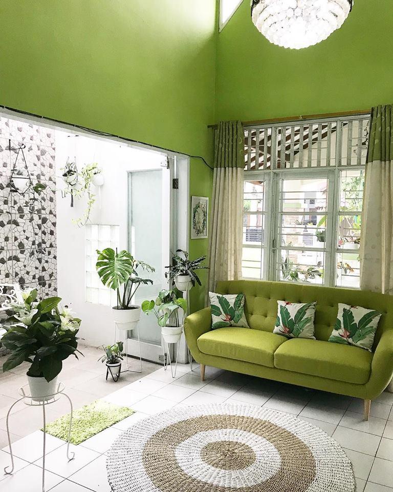 Desain Interior Ruang Tamu Nuansa Hijau Menyejukkan