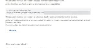 Indirizzo iCal