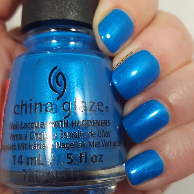 Aqua blue nail polish with turquoise micro shimmer