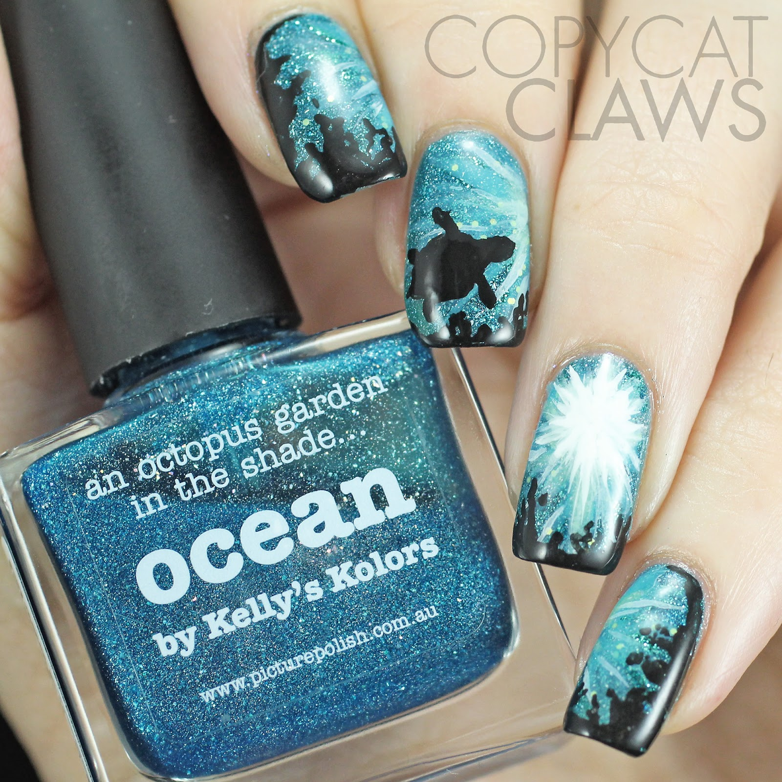Copycat claws march 2015 the digit al dozen does nature day 1 sea turtle nail art prinsesfo Images