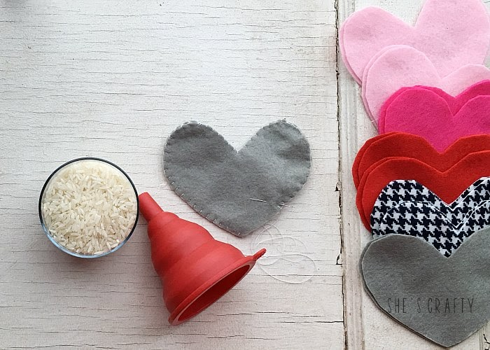 Felt Heart Hand Warmers - blanket stitch around the edges, fill with rice