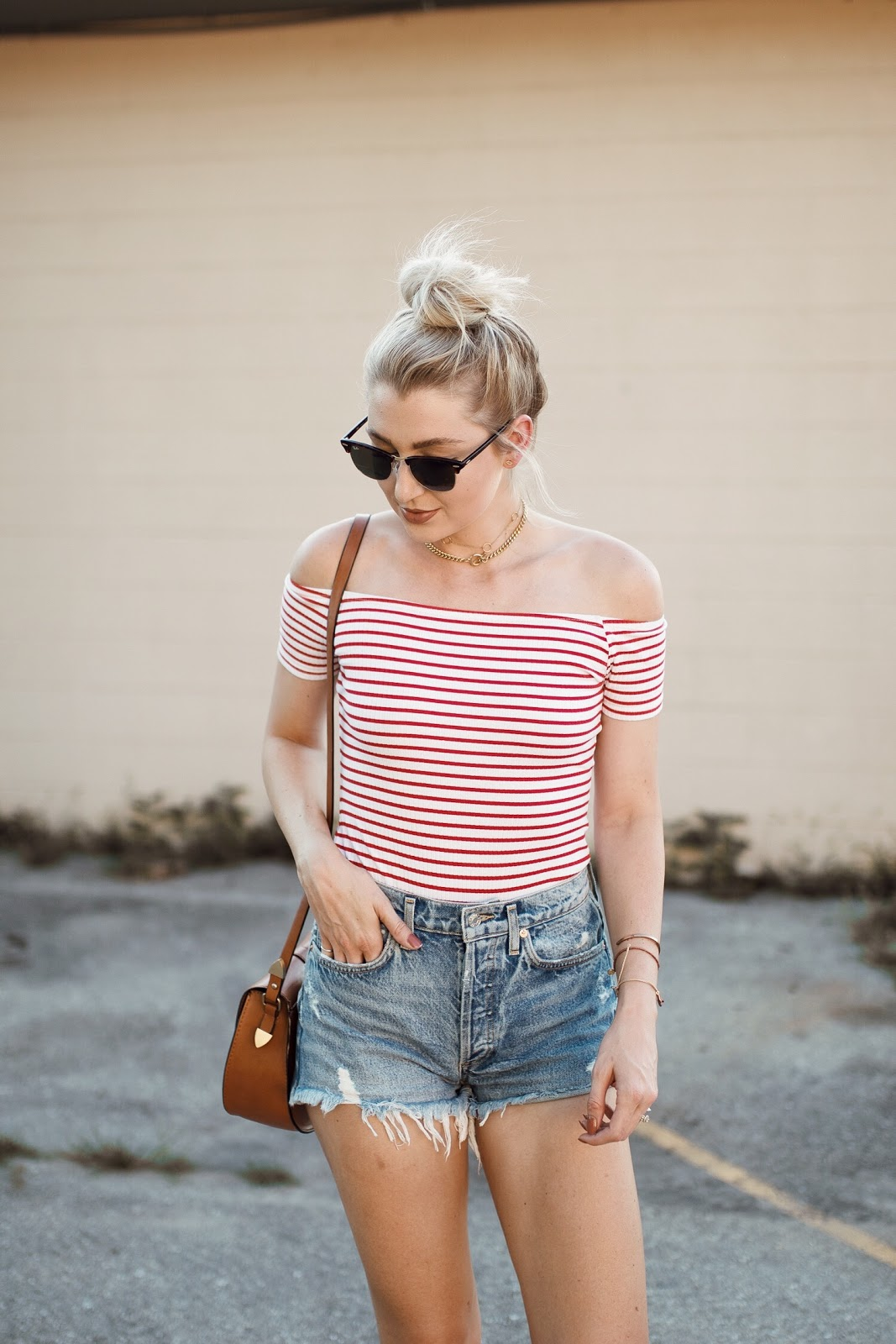 stripe bodysuit with cutoff shorts