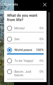 Filling out a YouTube Poll Card