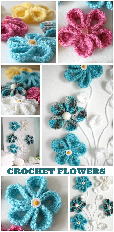 Easy springtime crochet flower wall art grateful prayer thankful pretty crochet flowers for all kinds of projects wall art or embellishing hats beanies izmirmasajfo