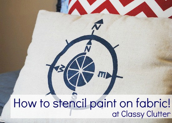 DIY Stenciled Pillow {with fabric paint and vinyl) - Classy