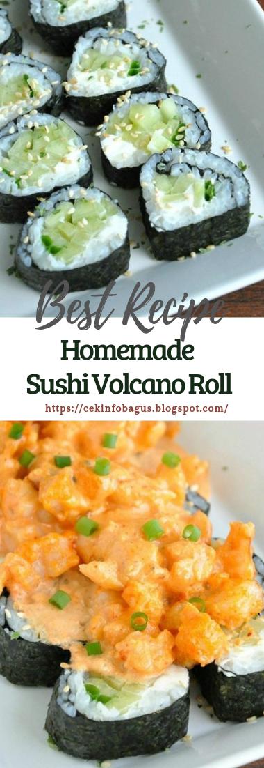 Homemade Sushi Volcano Roll #healthyfood #dietketo
