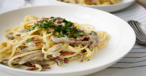 Pasta With Oyster Mushrooms, Prosciutto And Fresh Sage Recipe