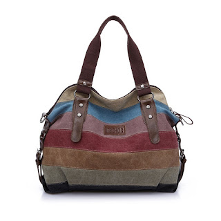 GREAT OFFER Striped Tote Bag, Itechor Multi-color Striped Canvas Totes Handbag £14.39