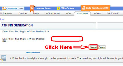 how to change sbi atm pin using otp