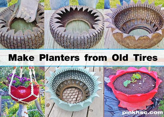 pot bunga kreatif dari ban bekas