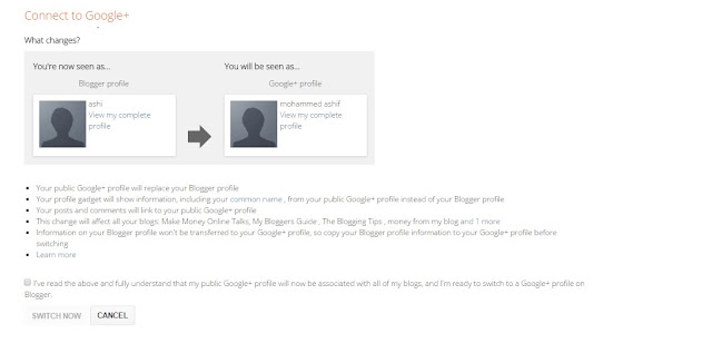 How to switch to Google+ profile