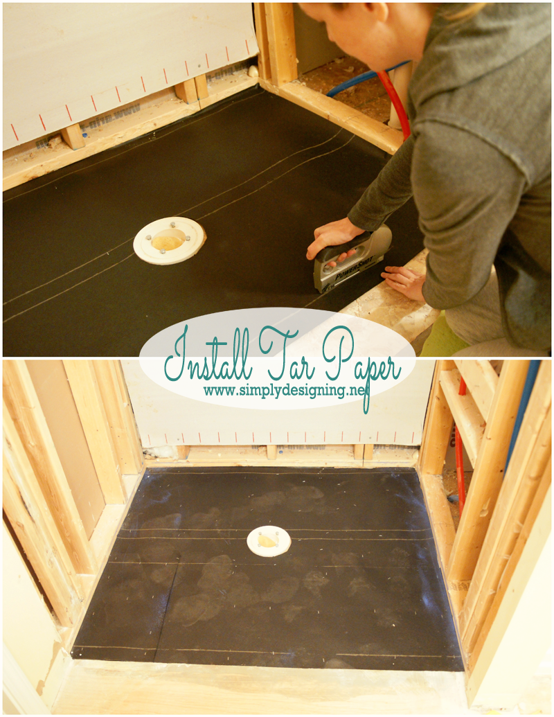 How to Install Tar Paper | How to create your own shower pan. Pin for next home project! | @thetileshop #thetileshop #tile #bathroom #shower #diy #remodel