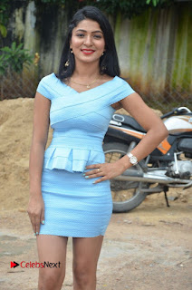 Actress Ankitha Jadhav Pictures in Blue Short Dress at Cottage Craft Mela 0007.jpg
