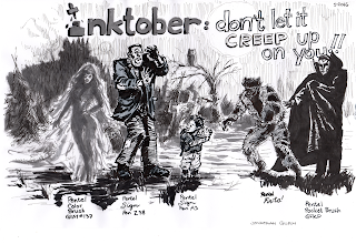Drawing of various Halloween themed characters demonstratiing the qualiteis of Pentel Pens