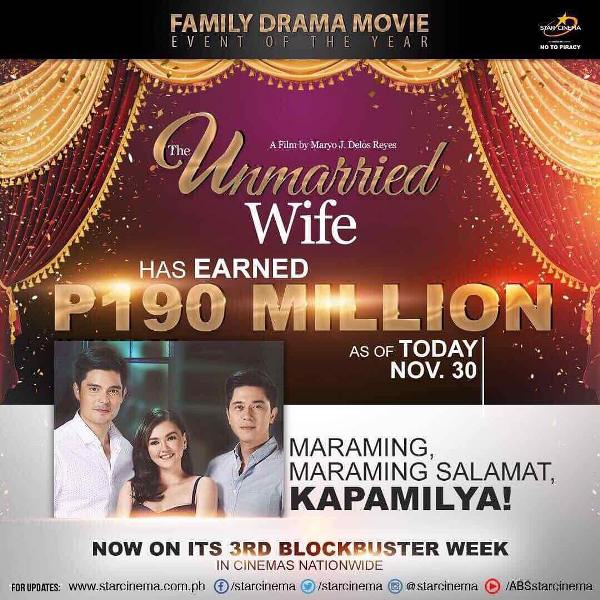 The Unmarried Wife earns P190 million at the box office after two weeks
