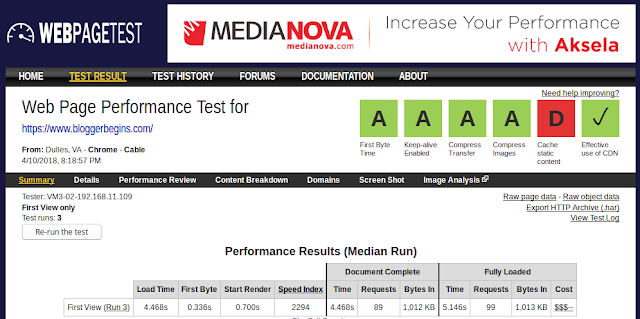 Check web page speed using Webpagetest.org service
