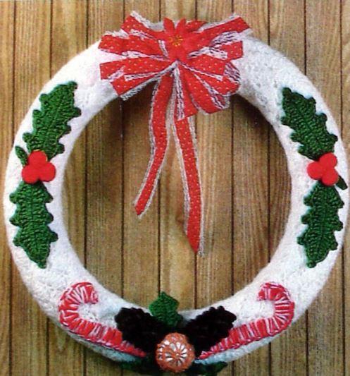 10 coronas navide as tejidas para puertas mi fiesta - Coronas navidenas para puertas ...