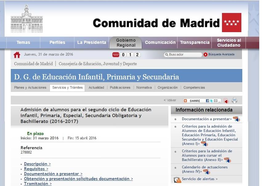 Ceip esperanza hortaleza comunidad escolar admisi n de for Correo comunidad de madrid