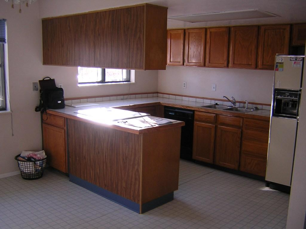 Kitchen Originally Had Bank Ceiling Mounted Cabinets Over