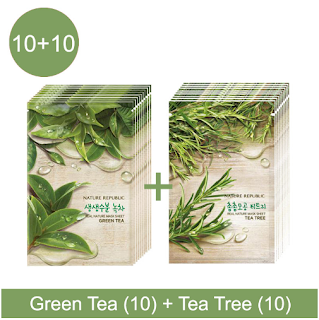 Nature Republic Real Nature Mask Sheet - Green Tea & Tea Tree