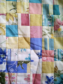 Close up of postage stamp quilt