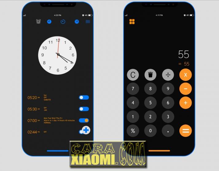 Tema MIUI iOS alakadarnya, tema MIUI iOS Center Clock