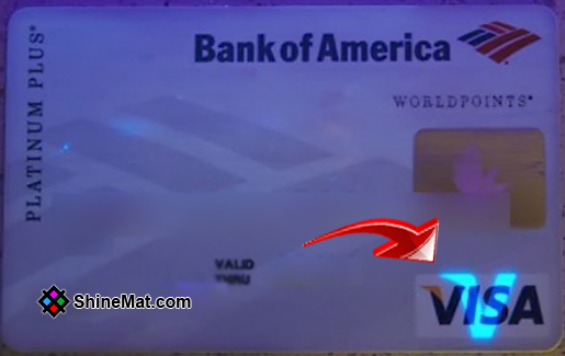 Ultraviolet light on VISA card