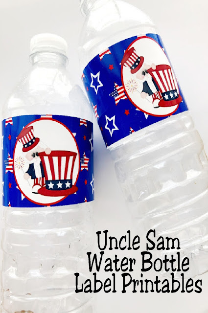 Dress up the water bottles at your 4th of July patriotic party with these cute Uncle Sam printable water bottle labels. Guests will stay hydrated and looking good with these water bottles in their hands! Save them today. #4thofjuly #patriotic #waterbottlelabel #diypartymomblog