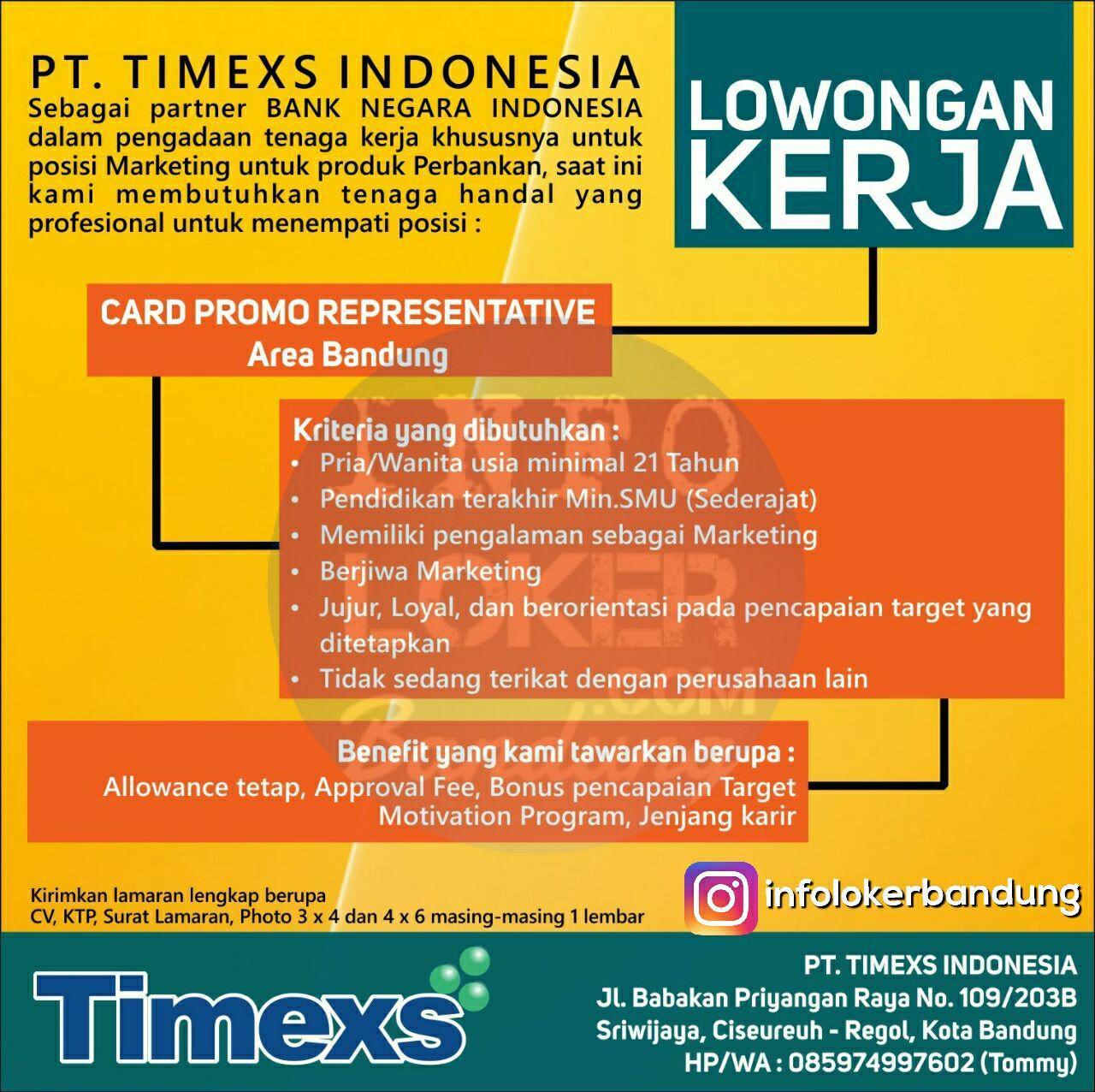 Lowongan Kerja PT. Timexs Indonesia Oktober 2017