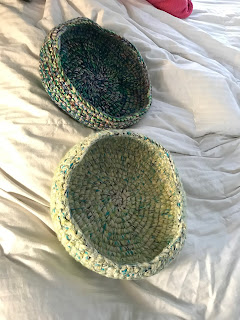 Two beautiful crocheted cat beds...alone and unwanted