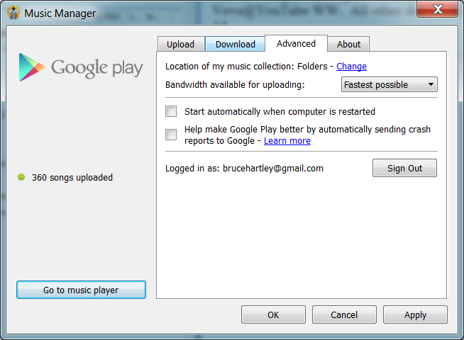 Screenshot of Google Play Music Manager