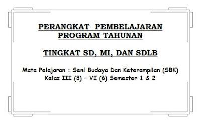 Prota Seni Budaya dan Ketrampilan (SBK) SD Kelas 3, 4, 5, 6 Semester 1 dan 2 KTSP