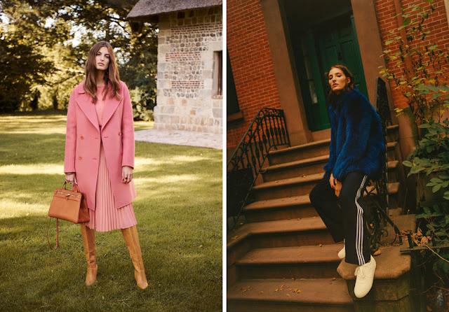 Розовое пальто с розовым платьем, синяя шуба с брюками с лампасами