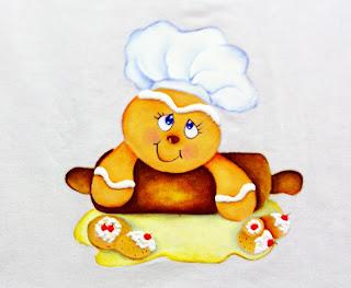 boneco ginger com rolo de massa